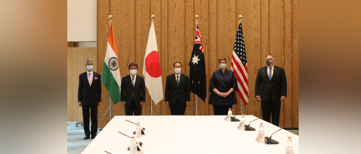 Foreign Ministers of countries under Quadrilateral Framework with the Prime Minister of Japan Yoshihide Suga during Ministerial talks held in Tokyo