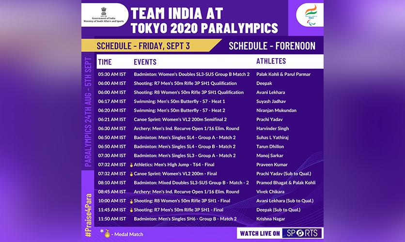 Schedule Wednesday 3 September, 2021