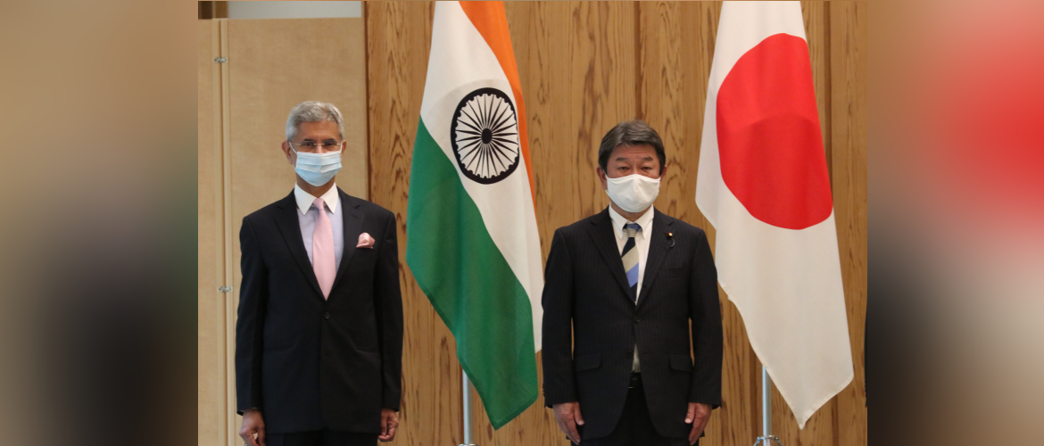 External Affairs Minister of India, Dr.S.Jaishankar with the Foreign Minister of Japan, Motegi Toshimitsu after the Strategic Dialogue.