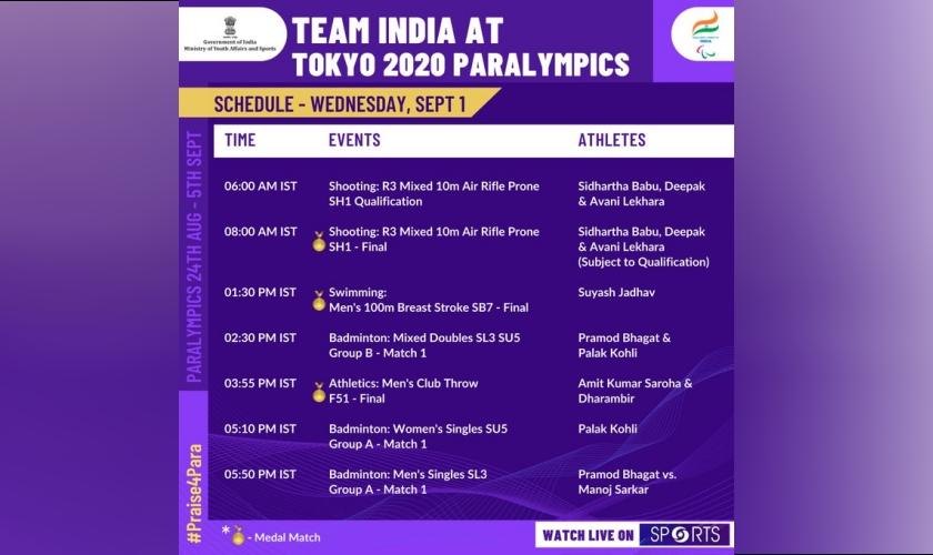 Schedule Wednesday 1 September, 2021